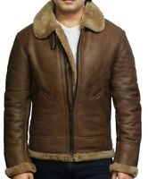 Brandslock Men's Genuine Shearling Sheepskin Leather Ricardo jacket