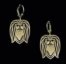 Pekingese Dog Earrings-Fashion Jewellery Gold Plated, Leverback Hook