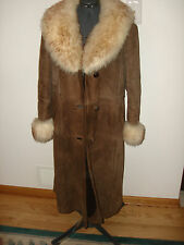 Vintage Boho Genuine Leather Lambskin Shearling Sheepskin Knee Coat Trims Size M