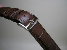 20MM BROWN LEATHER STRAP BAND STAINLESS STEEL SMALL LOGO BUCKLE FOR OMEGA WATCH