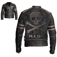 Men's Biker Vintage Distressed Retro Leather Jacket with Embossed Skull & Bones