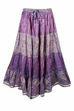 BOHO GYPSY HIPPY TIERED MAXI SKIRT PURPLE PRINTED FULL FLARE SARI LONG SKIRTS