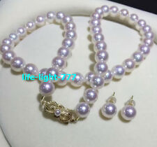 "AAAAA Stunning 8-9mm natural Akoya white round pearl necklace 18"" + earrings 14k"