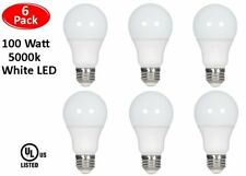 6 Pcs 100 Watt LED 5000K Daylight White Energy Saving 100W A19 11W Light Bulb UL