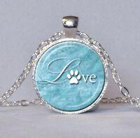 Halskette Kette mit Anhänger silber Pfote Pfötchen Liebe Hundepfote Hund Katze