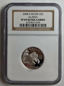 2008-S Alaska Silver Quarter NGC PF69 Ultra Cameo 187360D