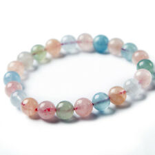 Natural Colorful Morganite Gemstone Clear Women Round Beads Bracelet 9mm AAAA