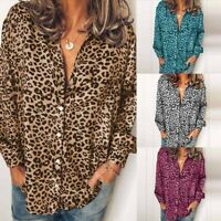 ZANZEA Women Leopard Print Long Sleeve Button Tops Blouse Ladies Loose Shirt Tee