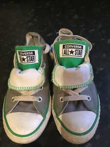 Grey/Green Double Tongue Canvas Converse UK 2**Excellent Condition**