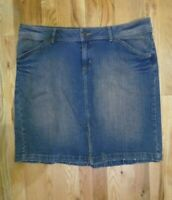 Bisou Bisou Size 18 Jean Denim Medium Wash Skirt Knee Length Kick Pleat