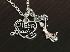 "Cheerleader Cheerleading Heart Charm Tibetan Silver 18"" Necklace"
