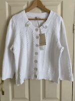 Laura Ashley White Cardigan 3/4 sleeve 100% Cotton Size UK 20 Brand NEW with tag