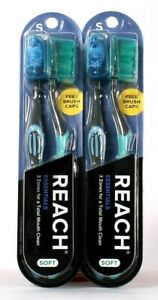 2 Packages Reach Essentials Total Mouth Blue & Green 2 Count Soft Toothbrushes