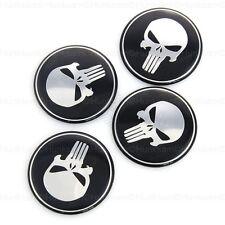4x 60mm Punisher Tyre Wheel Center Rim Caps Metal Emblem for Dodge Ford Nissan