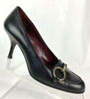 Coach Womens Aubry Black Leather Dress Heels Shoes 6.5 Medium (B,M) P554 Italy