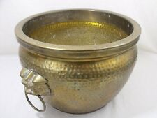 Large Antique  Hammered Brass Planter w/Chinese Foo Dog Handles