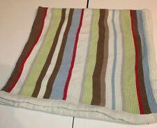Hooray By Cynthia Rowley Baby Blanket Knit Multicolor Stripe Cotton