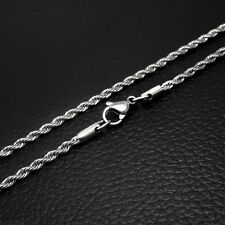 """Fashion 2.5mm Unisex's Silver Tone Twist Rope Stainless Steel Chain Necklace 20"""""""