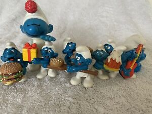 Vintage Bundle Lot Of 9 Smurfs Peyo Bully McDonald's Toys