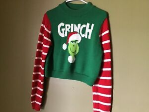 ugly christmas Crop sweater grinch Size L Juniors/women