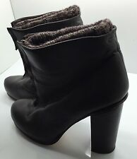 DOLCE VITA Brown Leather Heel Ankle Boots Front Zip Warm Winter Sock Lining 7.5M