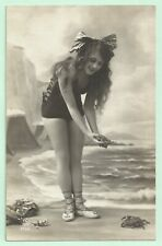 Old French real photo postcard bathing beauty nude art study 1920s RPPC pc #431