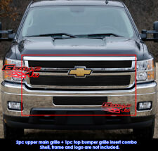 Fits Chevy Silverado 2500/3500 HD Black Billet Grill Combo 2011-2012