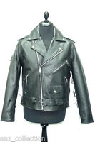 Brando Mens Gents Black Tassle Biker Cowboy Retro Real Cowhide Leather Jacket