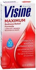 Visine Maximum Redness Relief Eye Drops 0.50 oz (Pack of 4)