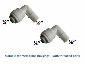 """2 x ¼"""" x ⅛"""" Threaded Elbow Quick Fitting Connectors for RO Water Filters Fridge"""