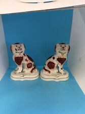 More details for pair king charles spaniel pottery mantle dogs 20cm brown/white 3 small chips(lf)