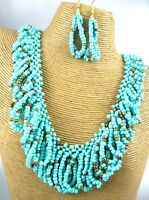 Gorgeous Deep Color Beads Metal Necklace Earring Set Costume Fashion Jewelry
