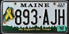 "MAINE "" SUPPORT OUR TROOPS "" 893 AJH "" 2012 ME Military Specialty License Plate"