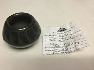 Vintage Santa Clara Pueblo Miniature Black on Black Feather Jar Signed