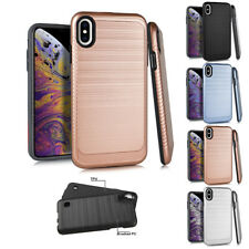 for Apple iPhone XS Max Carbon Fiber Impact Slim Shockproof Case Cover+Tool