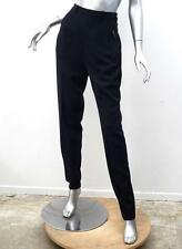 HERMES Womens VINTAGE Dark Navy High-Waisted Leather Tab Pants Trousers 42 M