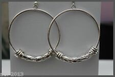 My Accessories Large White Black Clear Small Bead Hoop Earrings