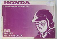Honda 88 SA50 Elite 50 LX 1988 #31GS7601 Scooter Owners Handbook