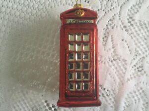 "4.5"" Glass Christmas Ornament British Telephone Booth London England Souvenir"