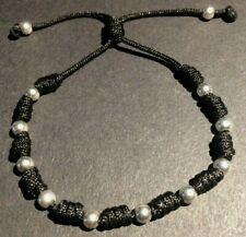 STERLING SILVER BEAD FRIENDSHIP BRACELET, silver beads/black thread *.925 beads*