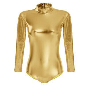 Women Metallic Ballet Dance Leotard Dancewear Unitard Bodysuit Gymnastics Thong