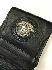 GIANNI VERSACE VINTAGE '95 METAL MEDUSA EMBOSS LEATHER CIGARETTE CASE BOX ITALY