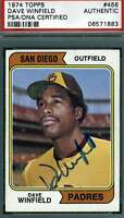 DAVE WINFIELD 1974 TOPPS Rookie PSA DNA COA Autograph Authentic Hand Signed