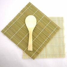 Green/Yellow Bamboo Sushi Mat With Rice Paddle Set S-3675