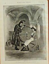 Wine Cellar, Winery, Jester, Maid, Dry Wit, Vintage 1895 Antique Art Print