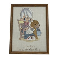 Handmade Needlepoint Grandpas Are A Gift From God Framed Picture Wall Art