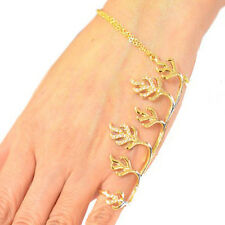 Fashion Ring Bracelet with Chain Gold Plated With Crystal Clone Ring RB0210B1 GD