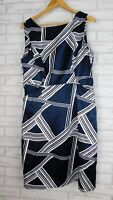 Jane Lamerton Pencil dress sz 16 Navy blue white print event party