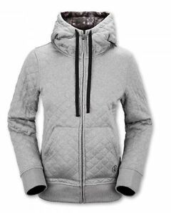 NWT WOMENS VOLCOM TANSY QUILTED FLEECE HOODIE $100 S grey full zip cozy