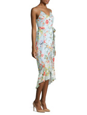 ALICE + OLIVIA MABLE Size 4 MIDI WRAP FLORAL PRINT SILK TANK DRESS $395 NWT